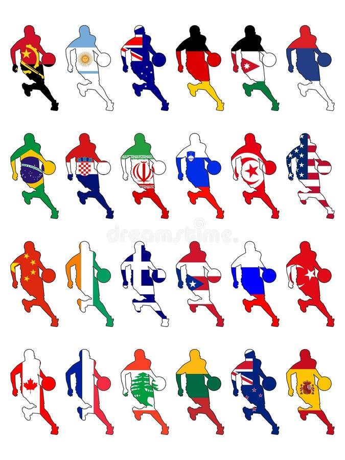 Insieme dei colori nazionali di pallacanestro illustrazione di stock