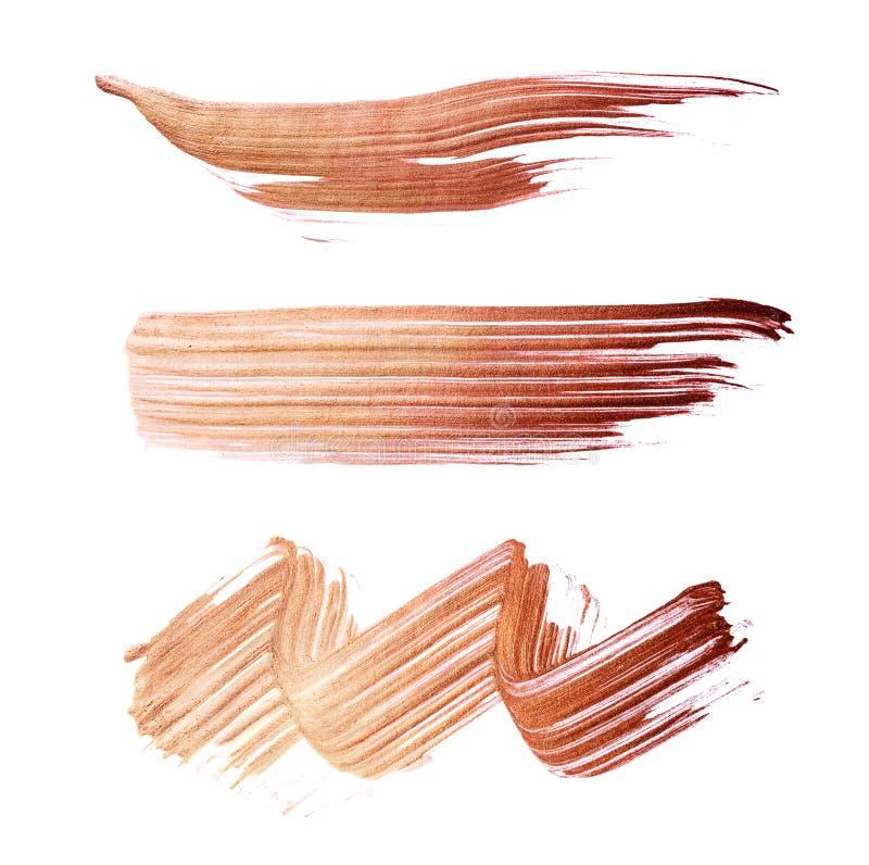 Insieme dei colpi bronzei della spazzola di pittura acrilica come campione del prodotto di arte royalty illustrazione gratis