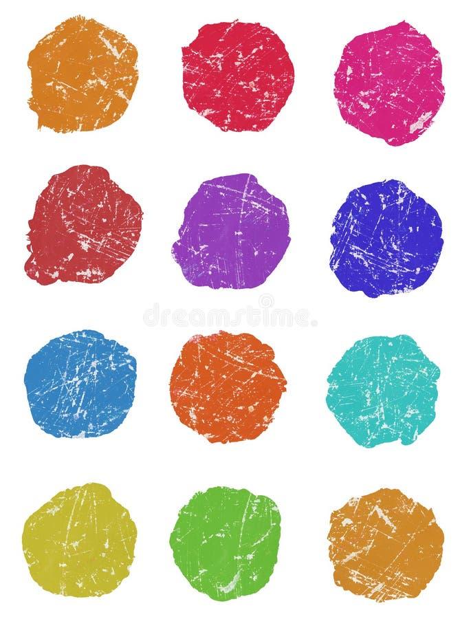 Insieme dei colpi della spazzola dell'inchiostro, cerchio, punti rotondi. royalty illustrazione gratis