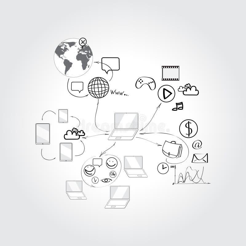 Insieme dei concetti di progetto di scarabocchio per cooperazione illustrazione di stock