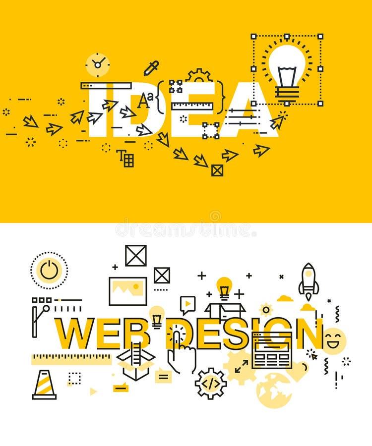 Insieme dei concetti moderni dell'illustrazione di vettore delle parole idea e web design royalty illustrazione gratis