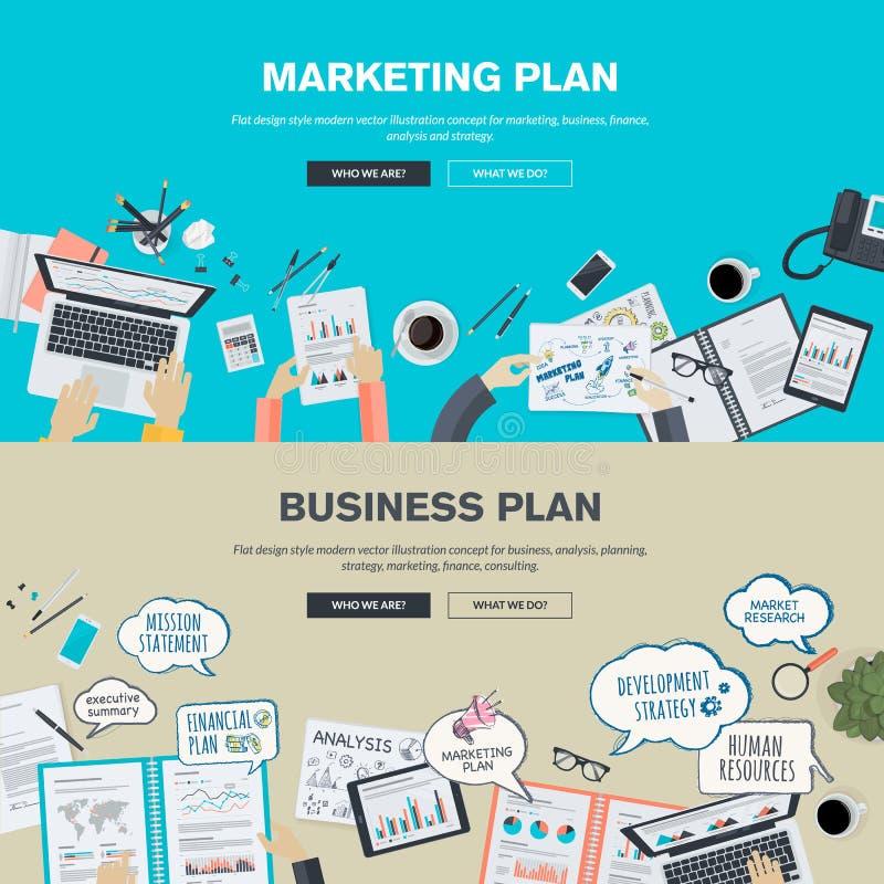 Insieme dei concetti piani dell'illustrazione di progettazione per il business plan ed il piano di vendita illustrazione di stock
