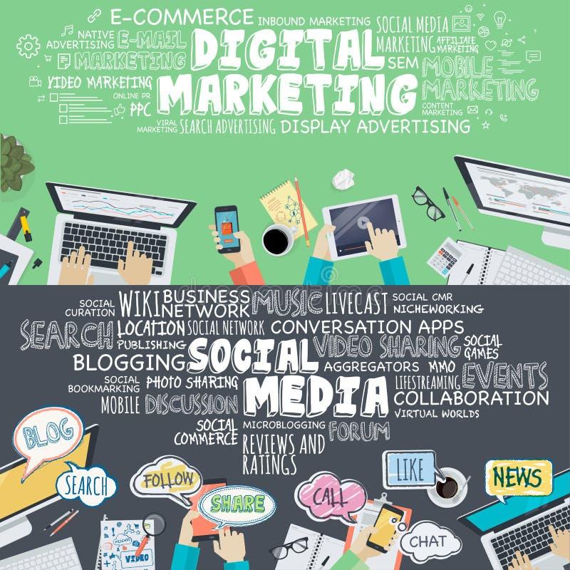 Insieme dei concetti piani dell'illustrazione di progettazione per l'introduzione sul mercato digitale ed i media sociali illustrazione di stock