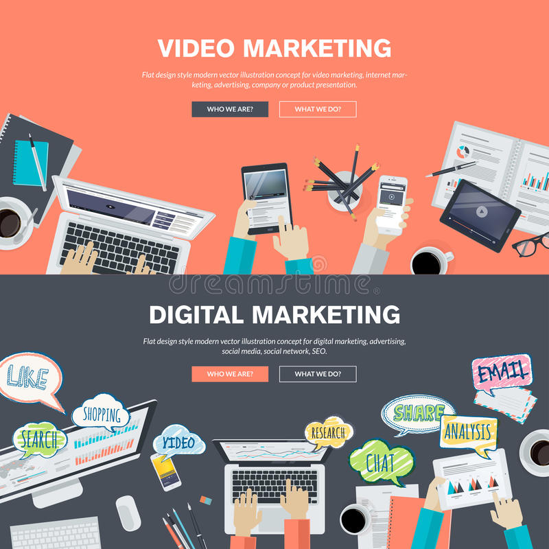 Insieme dei concetti piani dell'illustrazione di progettazione per la video ed introduzione sul mercato digitale