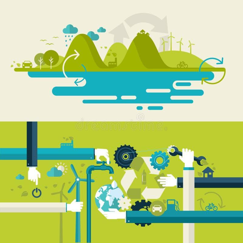 Insieme dei concetti piani dell'illustrazione di progettazione per tecnologia verde illustrazione di stock