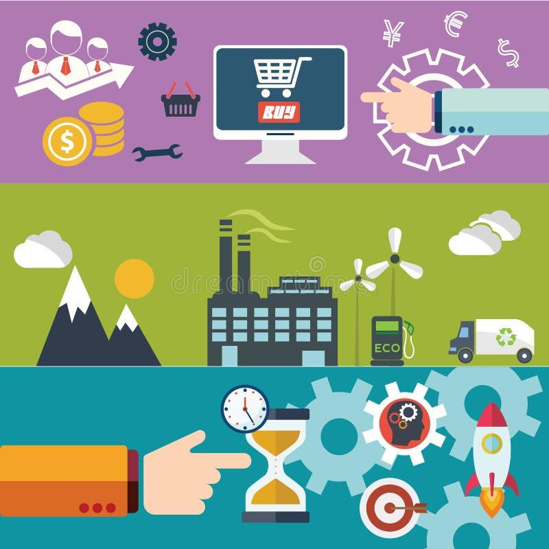 Insieme dei concetti piani dell'illustrazione di vettore di progettazione per la disposizione del sito Web, i servizi di telefono royalty illustrazione gratis