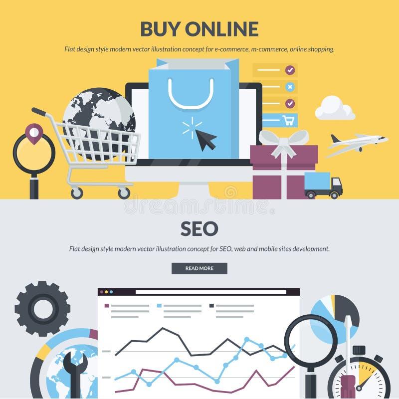 Insieme dei concetti piani di stile di progettazione per il commercio elettronico e SEO royalty illustrazione gratis
