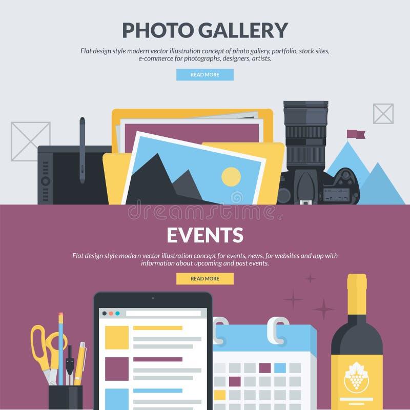Insieme dei concetti piani di stile di progettazione per la galleria di foto e gli eventi royalty illustrazione gratis