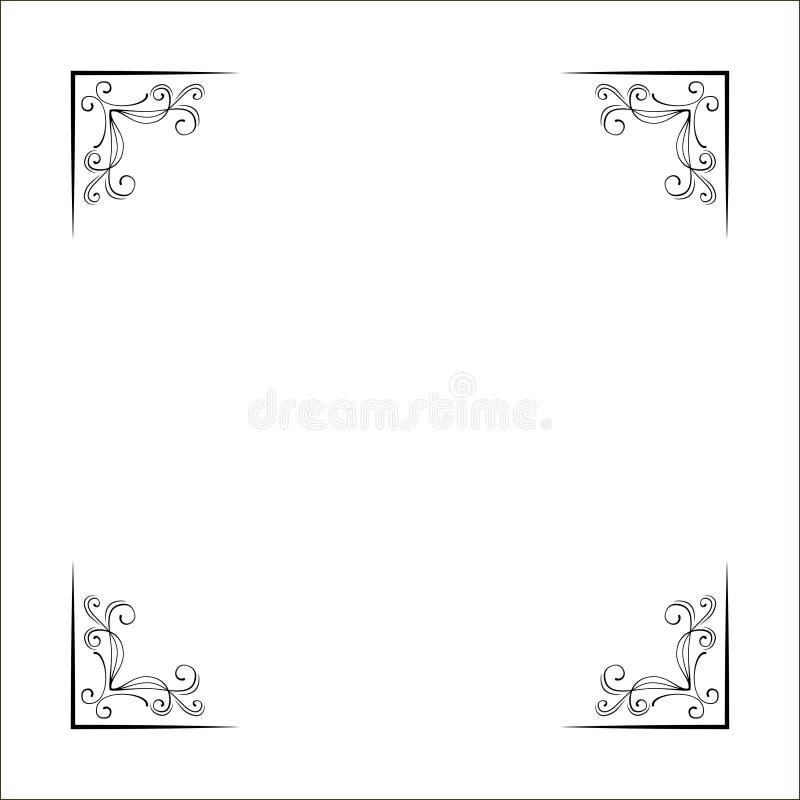 Insieme dei confini d'angolo disegnati a mano Decorazione operata della pagina Vettore illustrazione di stock