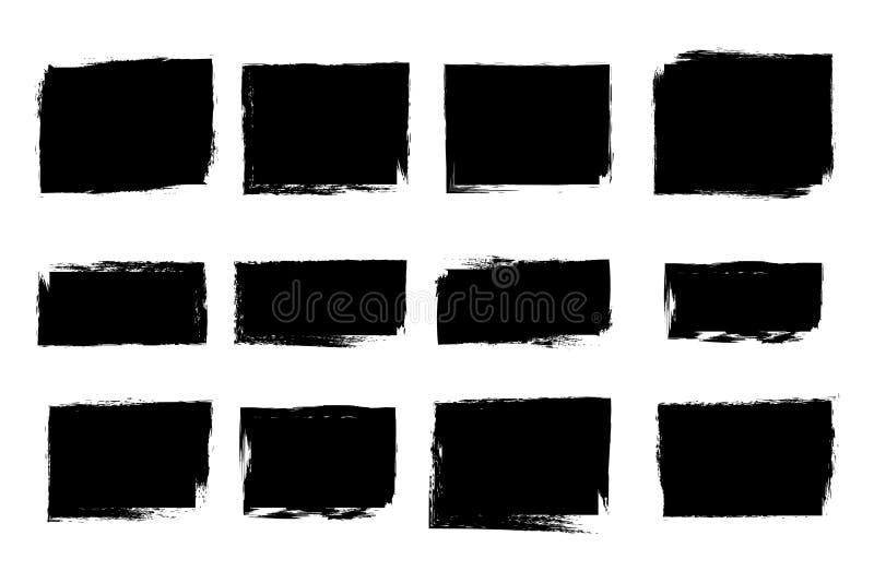 Insieme dei confini di rettangolo di lerciume e dei telai, illustrazione d'annata royalty illustrazione gratis