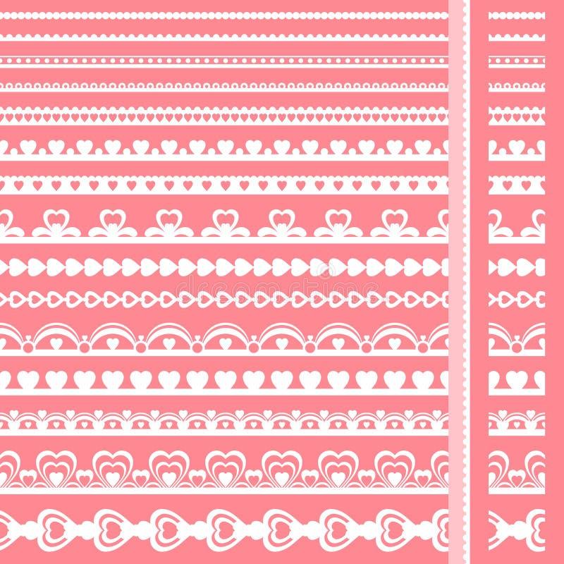 Insieme dei confini disegnati a mano della perforazione della carta pizzo illustrazione vettoriale