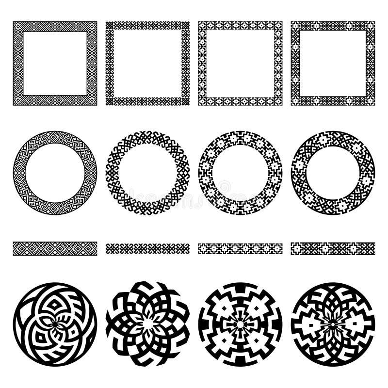 Insieme dei confini greci etnici, in tondo e dei telai quadrati, segni illustrazione di stock
