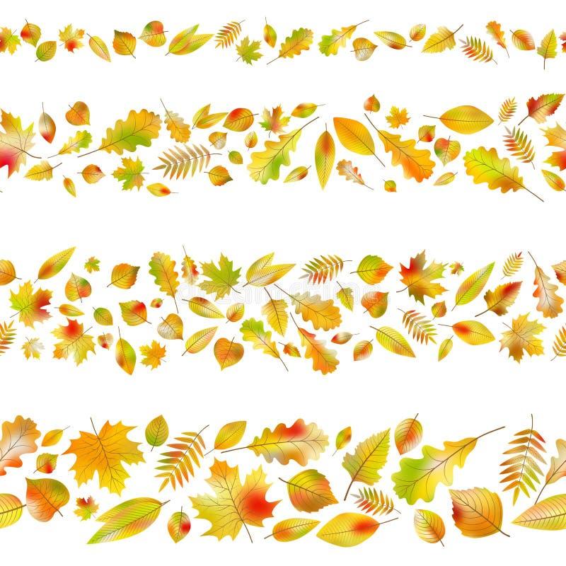 Insieme dei confini senza cuciture dalle foglie di autunno Vettore di ENV 10 illustrazione di stock