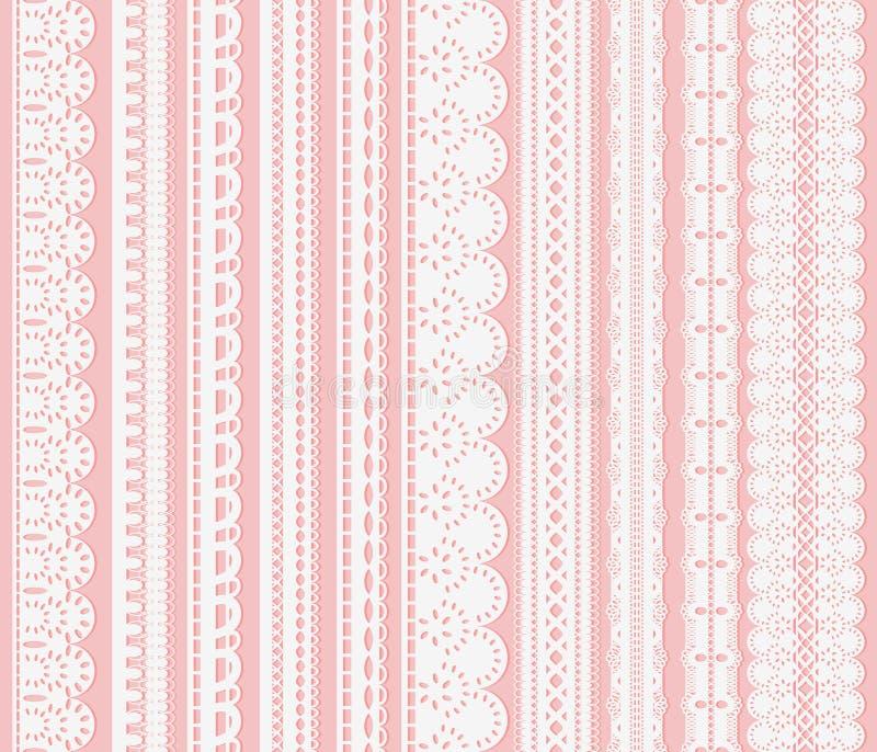 Insieme dei confini senza cuciture della grata Dieci nastri bianchi del pizzo isolati su fondo rosa illustrazione vettoriale
