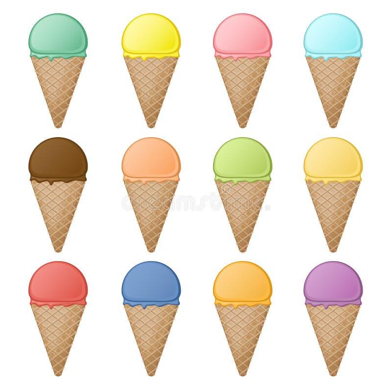 Insieme dei coni e dei ripartitori della cialda con differenti sapori e colori Dessert dolce variopinto della frutta nei coni del royalty illustrazione gratis