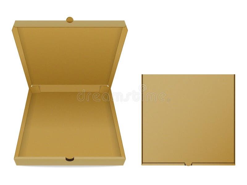 Insieme dei contenitori di pizza del cartone su fondo bianco royalty illustrazione gratis