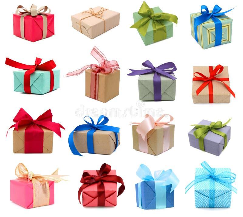 Insieme dei contenitori di regalo fotografie stock libere da diritti