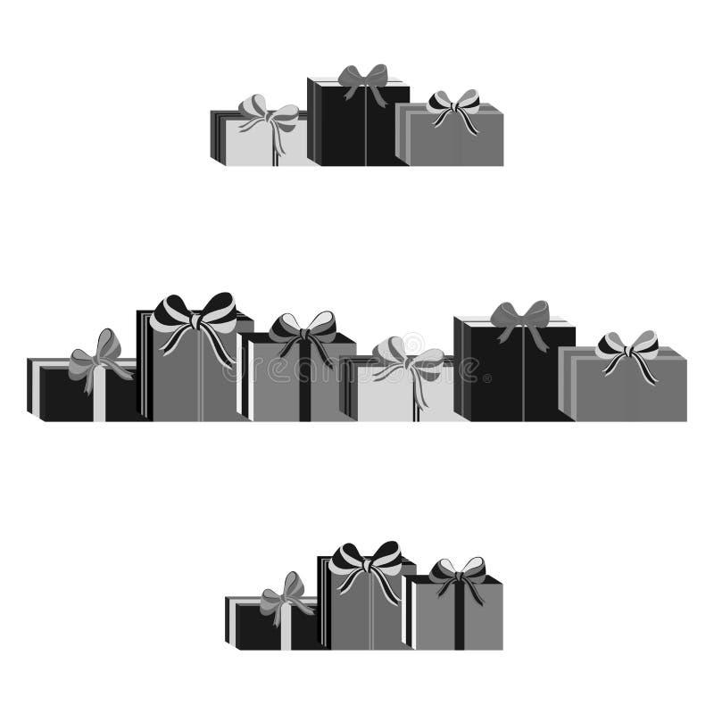 Insieme dei contenitori di regalo avvolti gray differente Progettazione piana Bello presente con l'arco Simbolo ed icona per il c illustrazione di stock