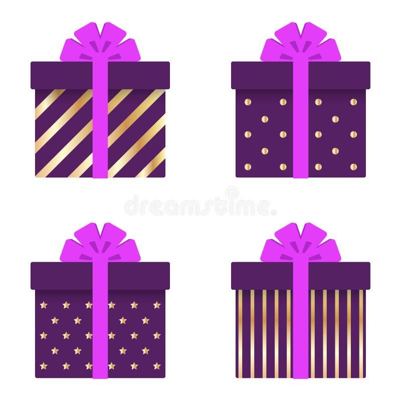 Insieme dei contenitori di regalo con i nastri, gli archi, le bande dell'oro, i cerchi e le stelle Illustrazione di vettore illustrazione di stock