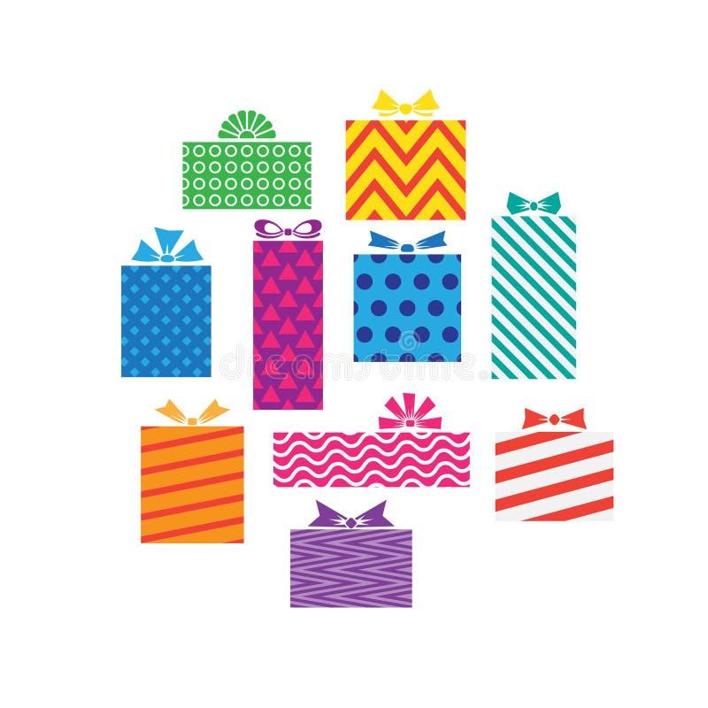 Insieme dei contenitori di regalo differenti, presente isolati su bianco illustrazione di stock