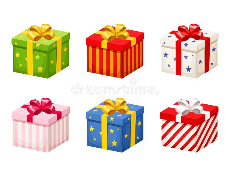 Insieme dei contenitori di regalo variopinti con gli archi Illustrazione di vettore illustrazione vettoriale