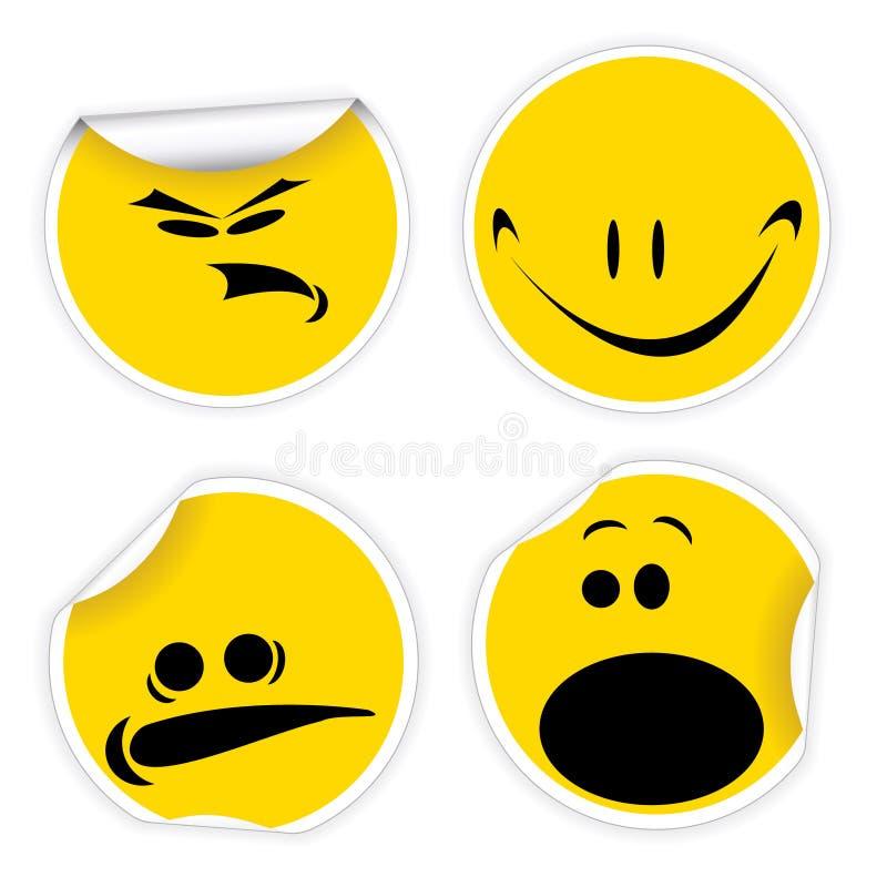 Insieme dei contrassegni di colore giallo con i sorrisi royalty illustrazione gratis