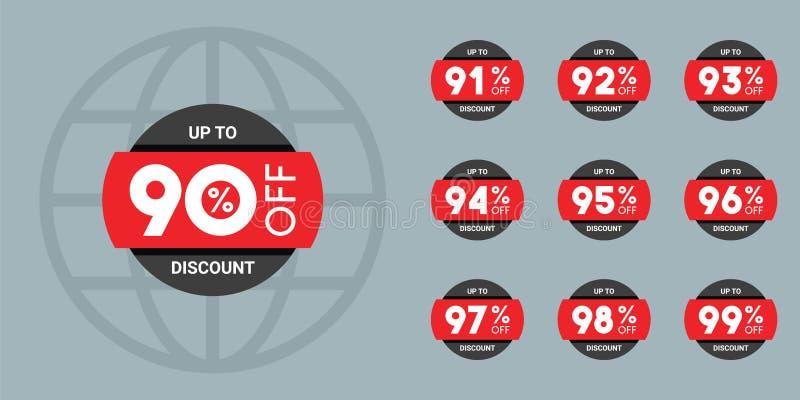 Insieme dei contrassegni di sconto Raccolta di web degli autoadesivi e dei distintivi da vendere illustrazione di stock