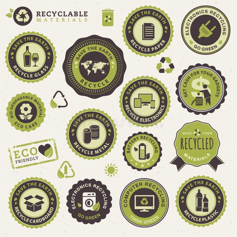 Insieme dei contrassegni e degli autoadesivi per riciclare illustrazione vettoriale