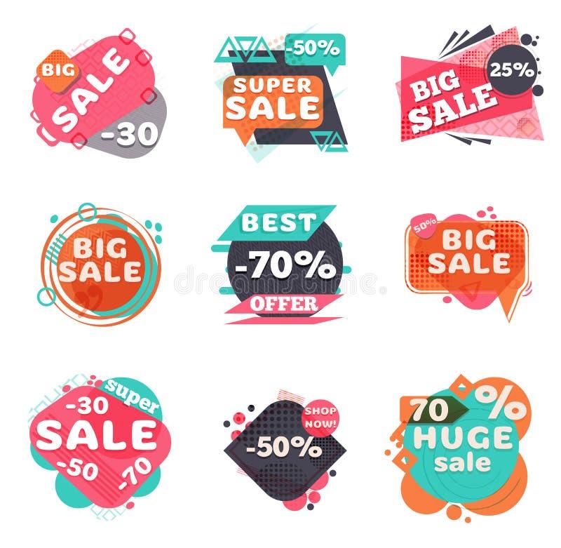 Insieme dei contrassegni moderni di vendita illustrazione vettoriale
