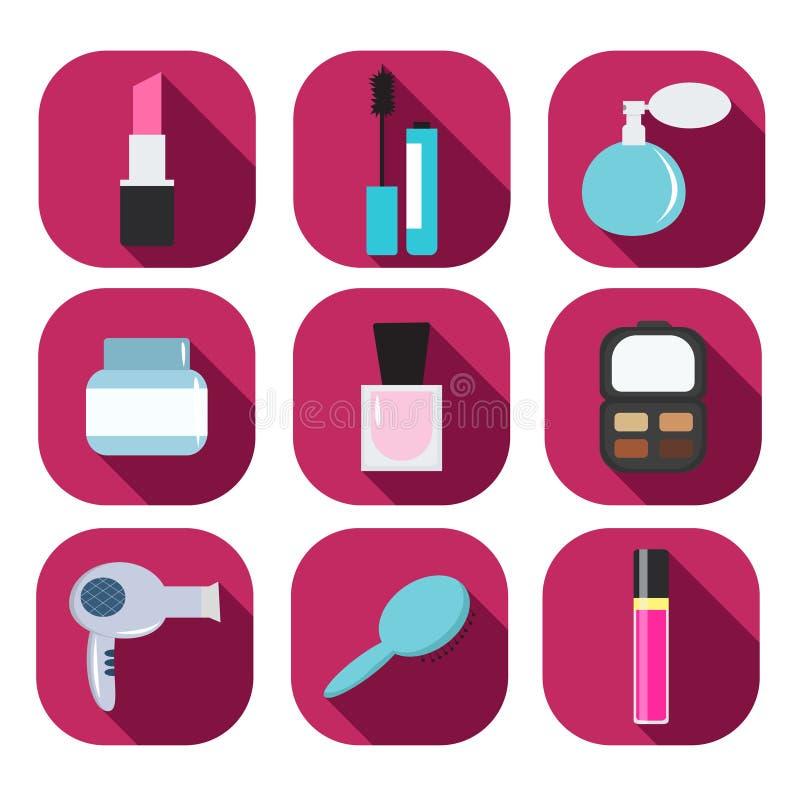 Insieme dei cosmetici e delle icone decorativi di bellezza royalty illustrazione gratis