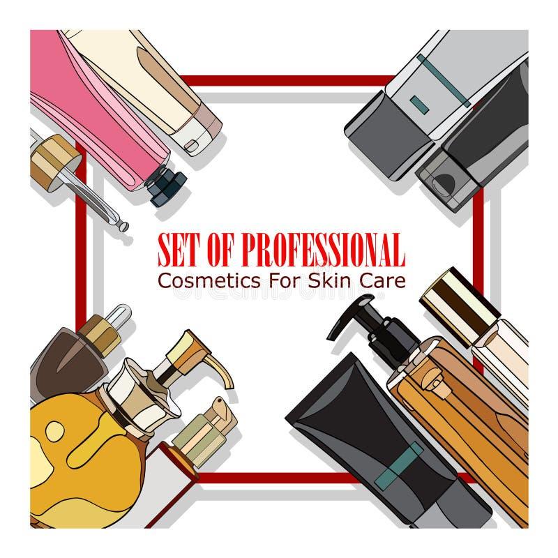 Insieme dei cosmetici professionali per cura di pelle illustrazione di stock