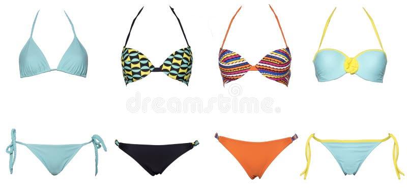 Insieme dei costumi da bagno o del bikini isolati su fondo bianco Nuovo modo di estate Colorfull e bikini sexy e d'avanguardia fotografie stock