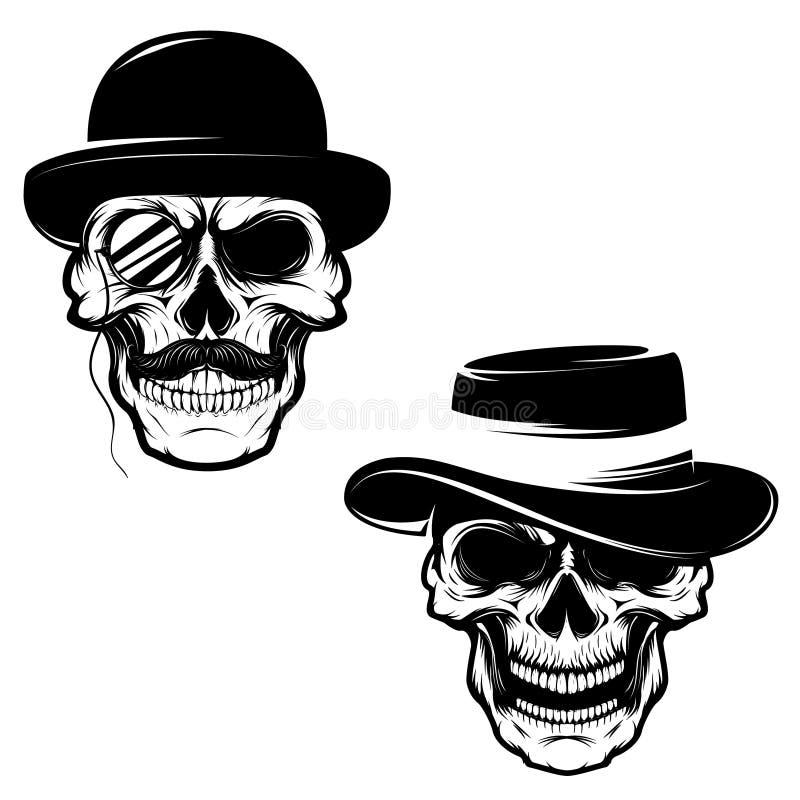 Insieme dei crani in cappello ed in monocolo Elemento di progettazione per il logo, etichetta illustrazione di stock
