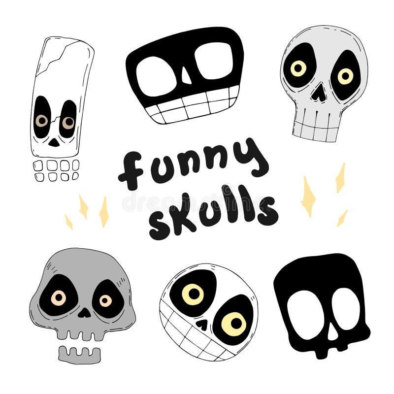 Insieme dei crani divertenti Illustrazione di vettore illustrazione di stock