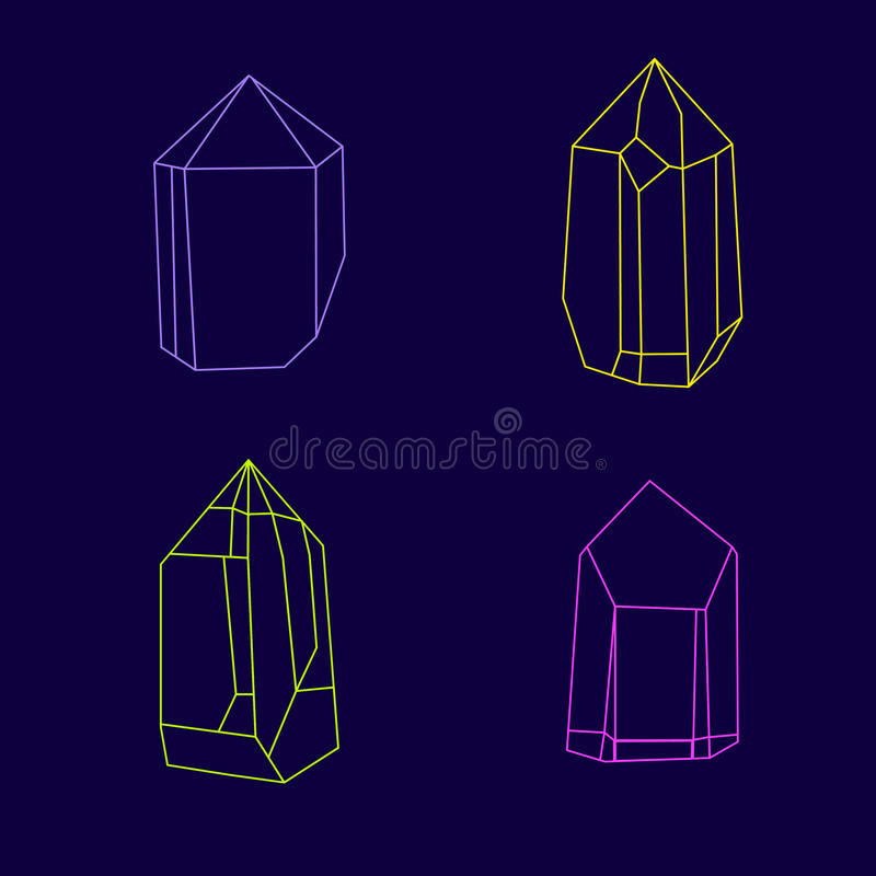 Insieme dei cristalli magici Gemme multicolori poligonali illustrazione di stock