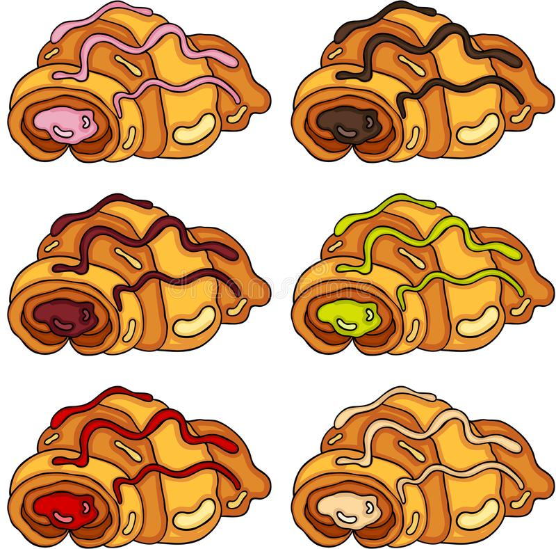 Insieme dei croissant con differenti materiali da otturazione illustrazione vettoriale