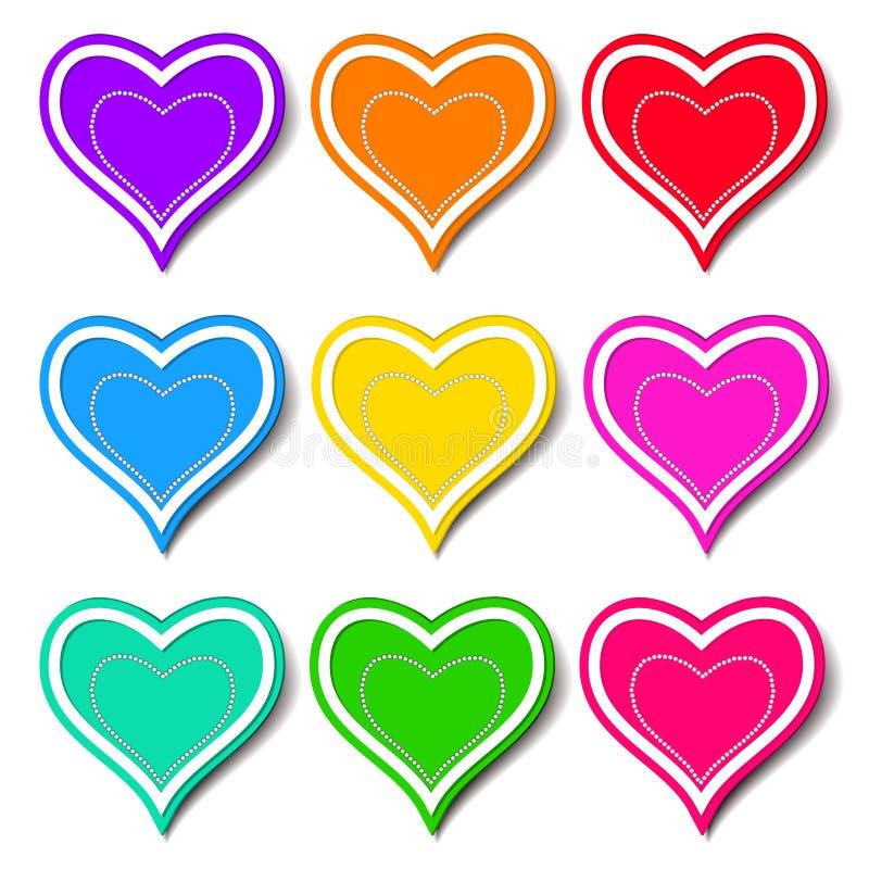 Insieme dei cuori colorati illustrazione vettoriale for Disegni da colorare con cuori