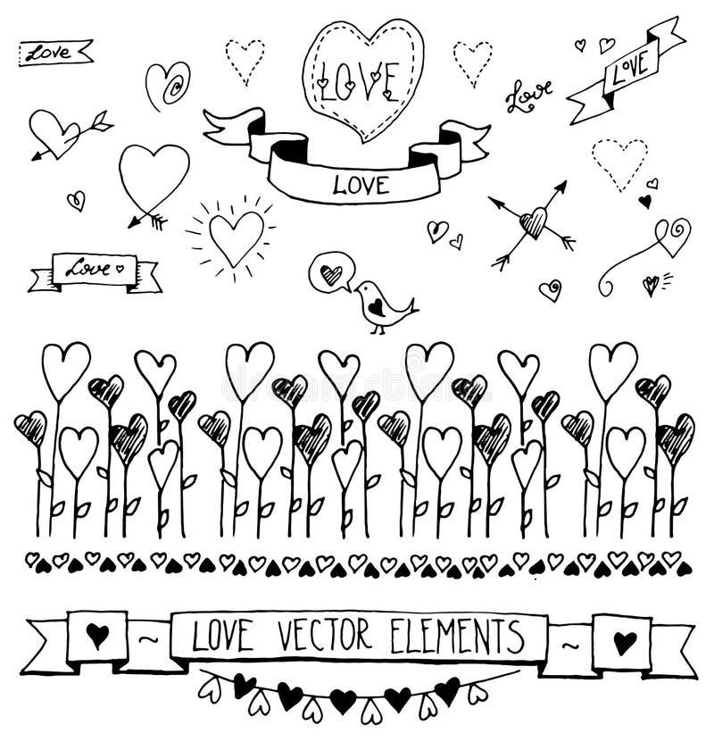 Insieme dei cuori decorativi disegnati a mano, nastri, divisori, stamine, elementi di progettazione Illustrazione di vettore di a illustrazione di stock
