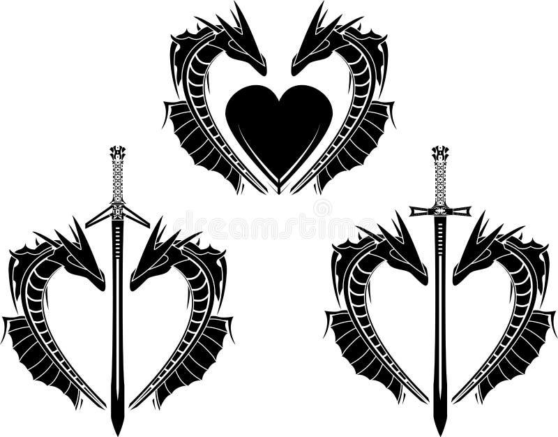 Insieme dei cuori dei draghi illustrazione vettoriale