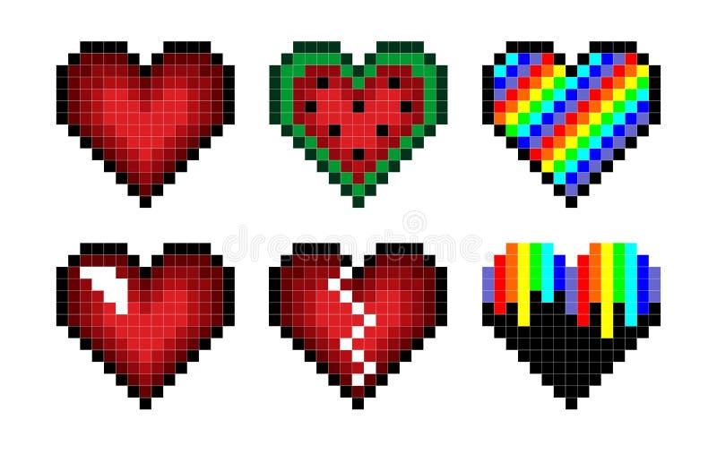 Insieme dei cuori del pixel illustrazione vettoriale