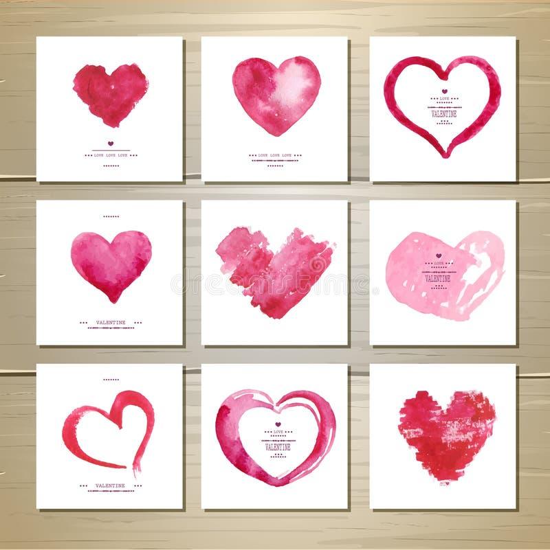 Insieme dei cuori di amore del biglietto di S. Valentino dell'acquerello royalty illustrazione gratis