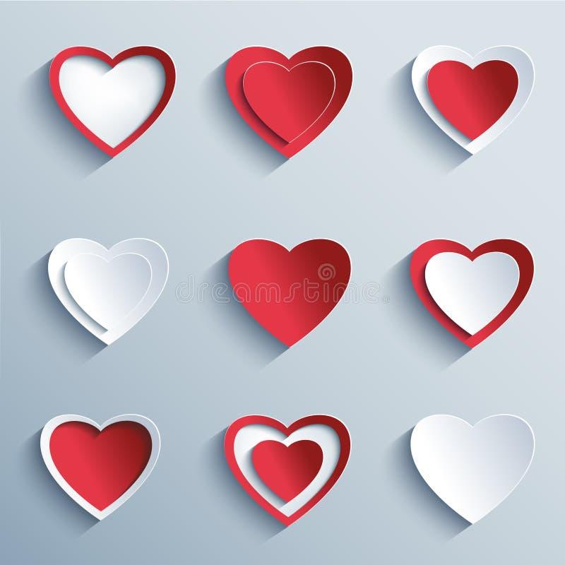 Insieme dei cuori di carta, elementi di progettazione per il giorno di biglietti di S. Valentino royalty illustrazione gratis
