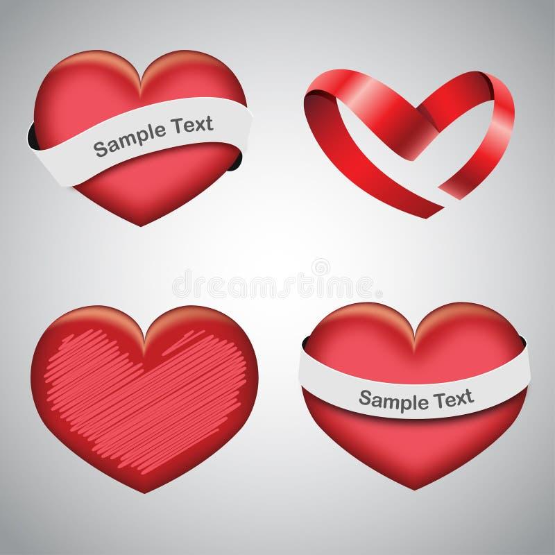 Insieme dei cuori di giorno dei biglietti di S. Valentino royalty illustrazione gratis