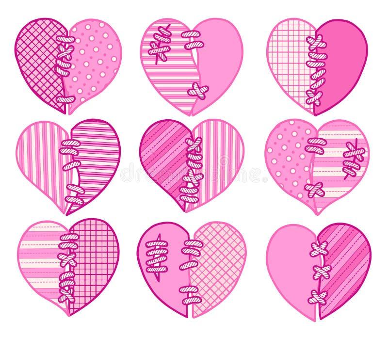 Insieme dei cuori di vettore di rosa del taglio Immagine per la cartolina d'auguri per il giorno del ` s del biglietto di S. Vale royalty illustrazione gratis