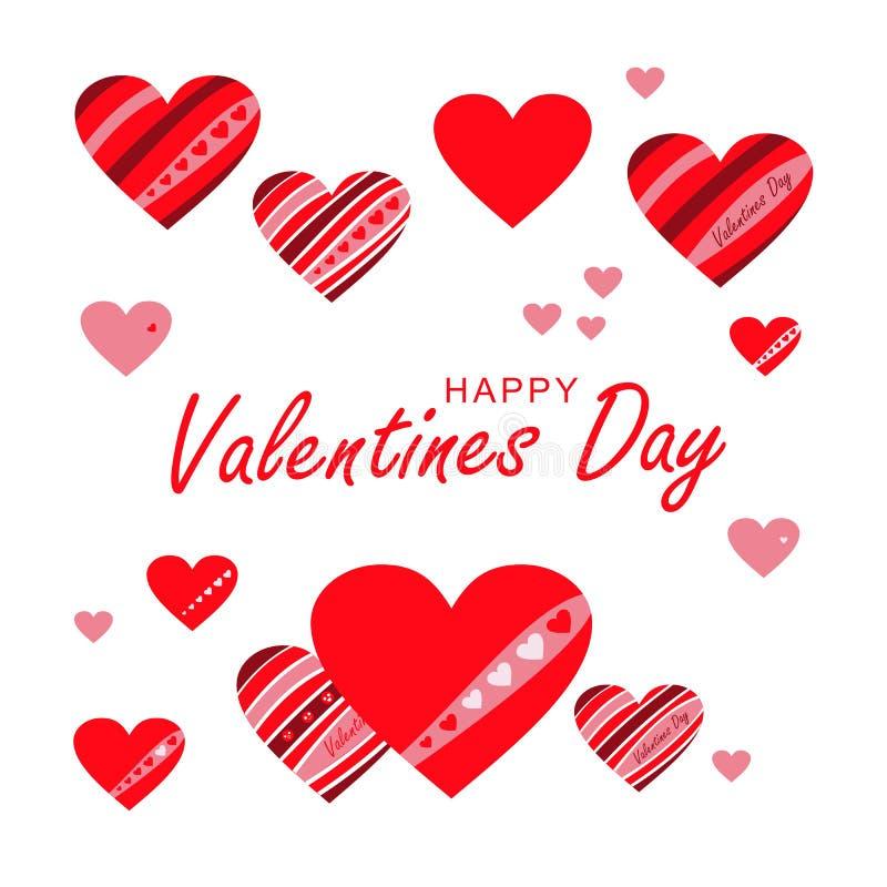 Insieme dei cuori di vettore Giorno felice del `s del biglietto di S Cuore rosso di amore Cartolina d'auguri, insegna immagini stock libere da diritti