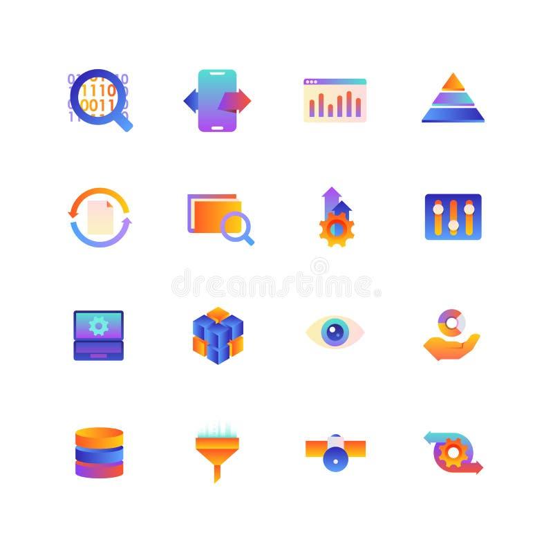 Insieme dei dati Icone di pendenza di vettore Colore editabile 48x48 immagini stock