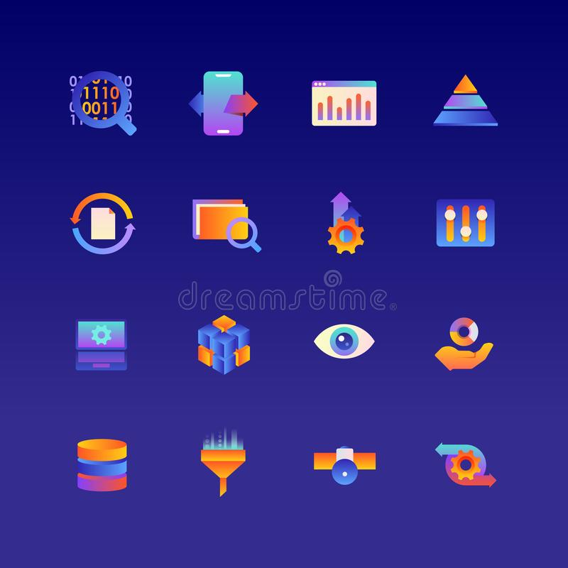 Insieme dei dati Icone di pendenza di vettore Colore editabile 48x48 fotografia stock