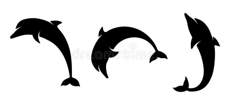 Insieme dei delfini Siluette nere di vettore illustrazione di stock