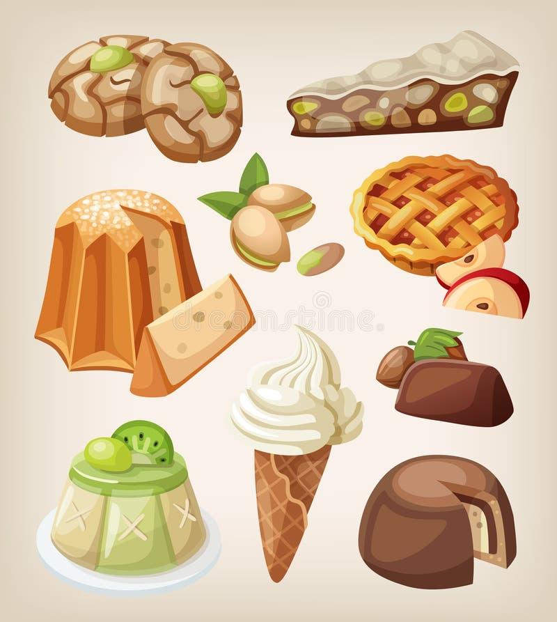 Insieme dei dessert italiani royalty illustrazione gratis