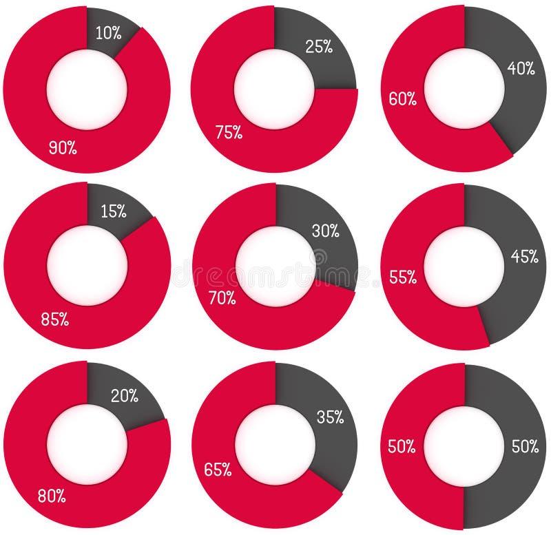Insieme dei diagrammi circolari 3d: 10%, 15%, 20%, 25%, 30%, 35%, 40%, 45 illustrazione vettoriale